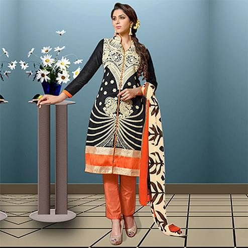 Black - Orange Knee Length Straight Suit