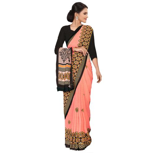Desirable Peach Colored Casual Wear Printed Georgette Saree