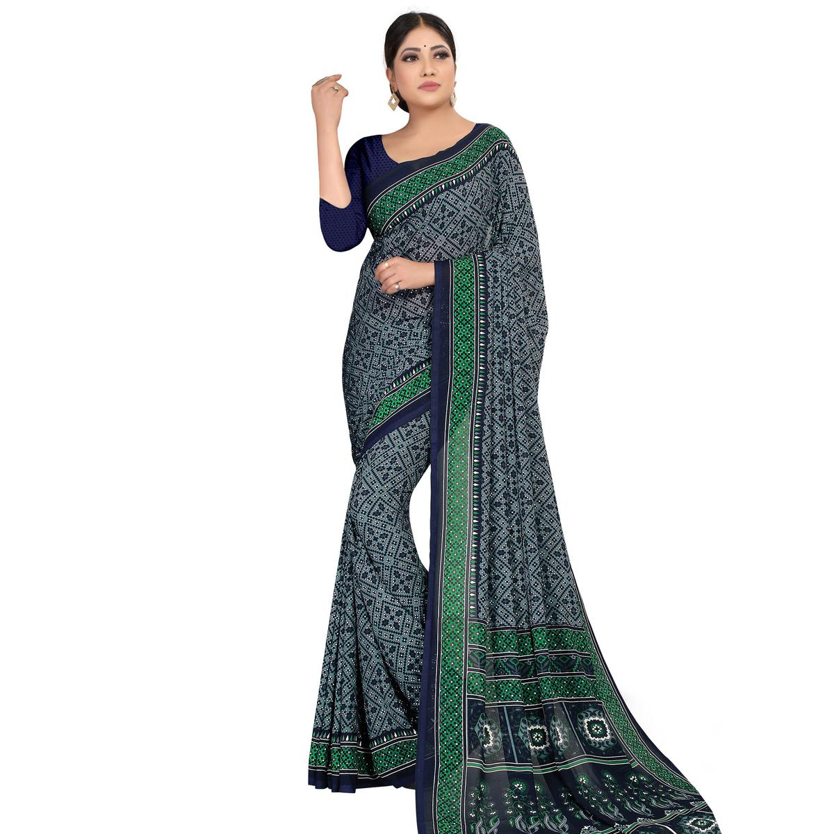 Exotic Grey Colored Casual Wear Printed Georgette Saree
