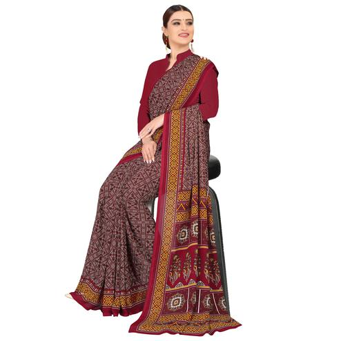 Trendy Brown Colored Casual Wear Printed Georgette Saree