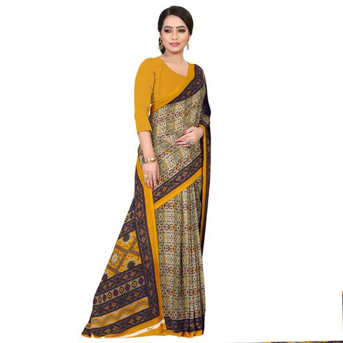 Elegant Light Olive Green Colored Casual Wear Printed Georgette Saree