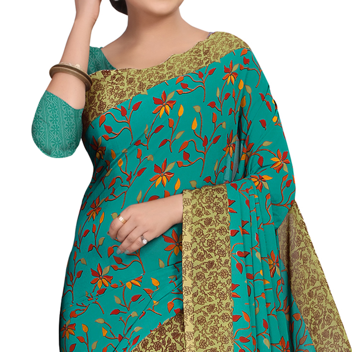 Opulent Turquoise Green Colored Casual Wear Printed Georgette Saree