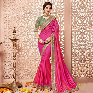 Pink Border Work Silk Saree
