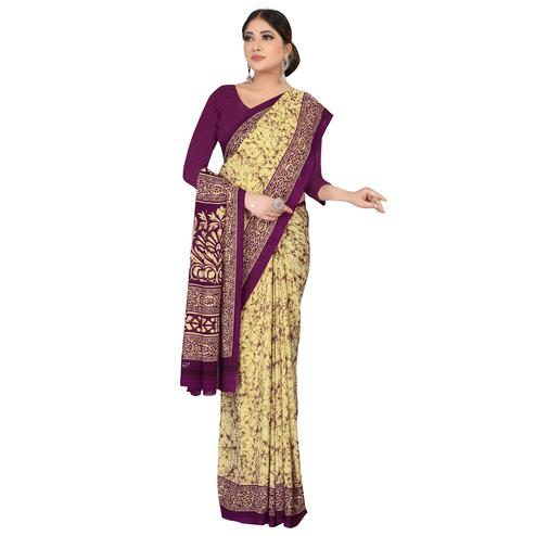 Energetic Beige-Maroon Colored Casual Wear Printed Georgette Saree