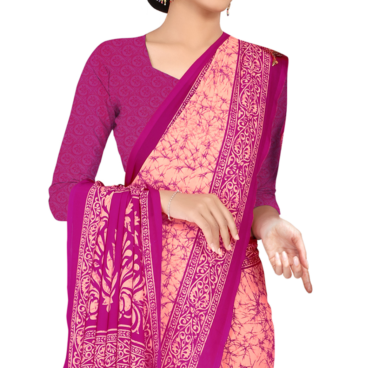 Glowing Peach Colored Casual Wear Printed Georgette Saree