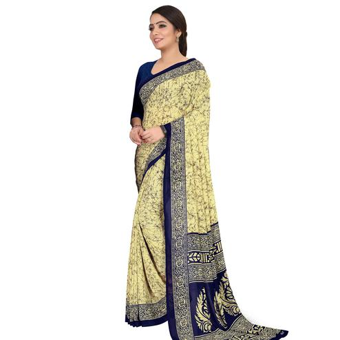Exceptional Beige-Blue Colored Casual Wear Printed Georgette Saree