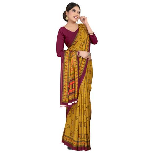 Innovative Mehndi Green Colored Casual Wear Printed Georgette Saree