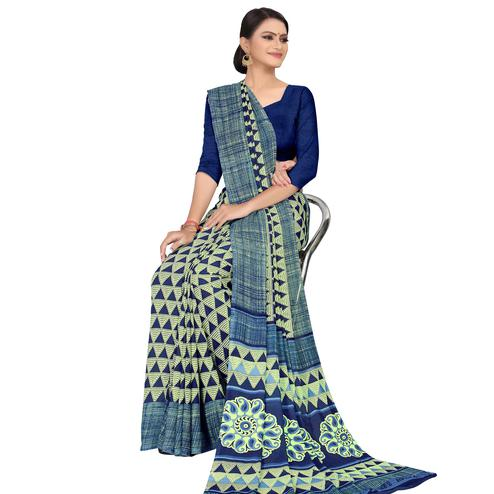 Blooming Light Green Colored Casual Wear Printed Georgette Saree
