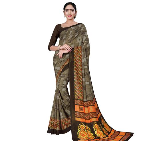 Jazzy Army Green Colored Casual Wear Printed Georgette Saree