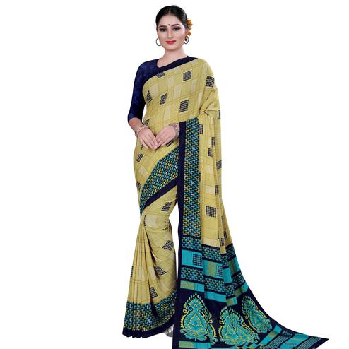 Delightful Beige Colored Casual Wear Printed Georgette Saree