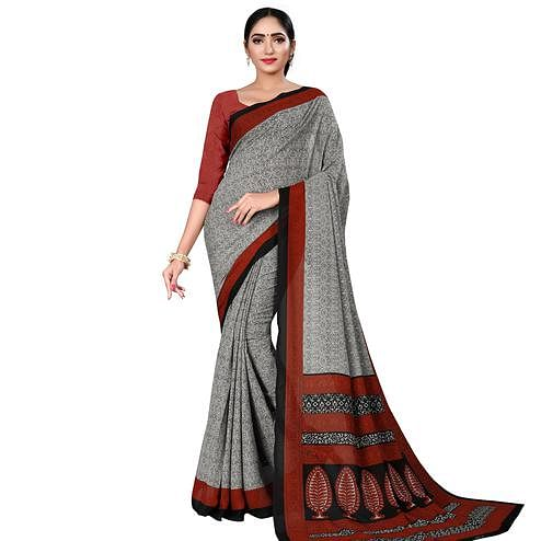 Engrossing Grey Colored Casual Wear Printed Georgette Saree