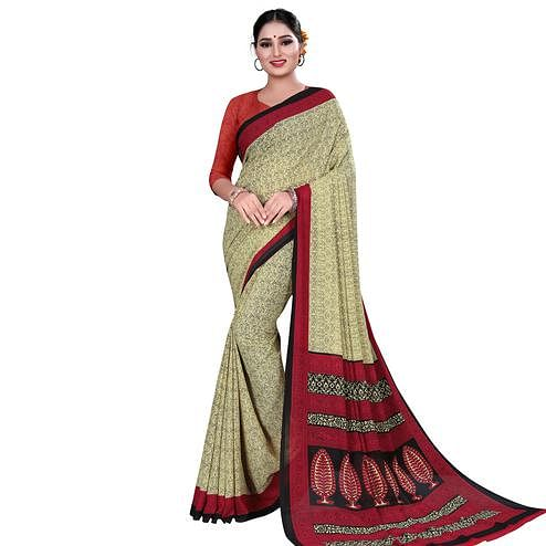 Trendy Beige Colored Casual Wear Printed Georgette Saree