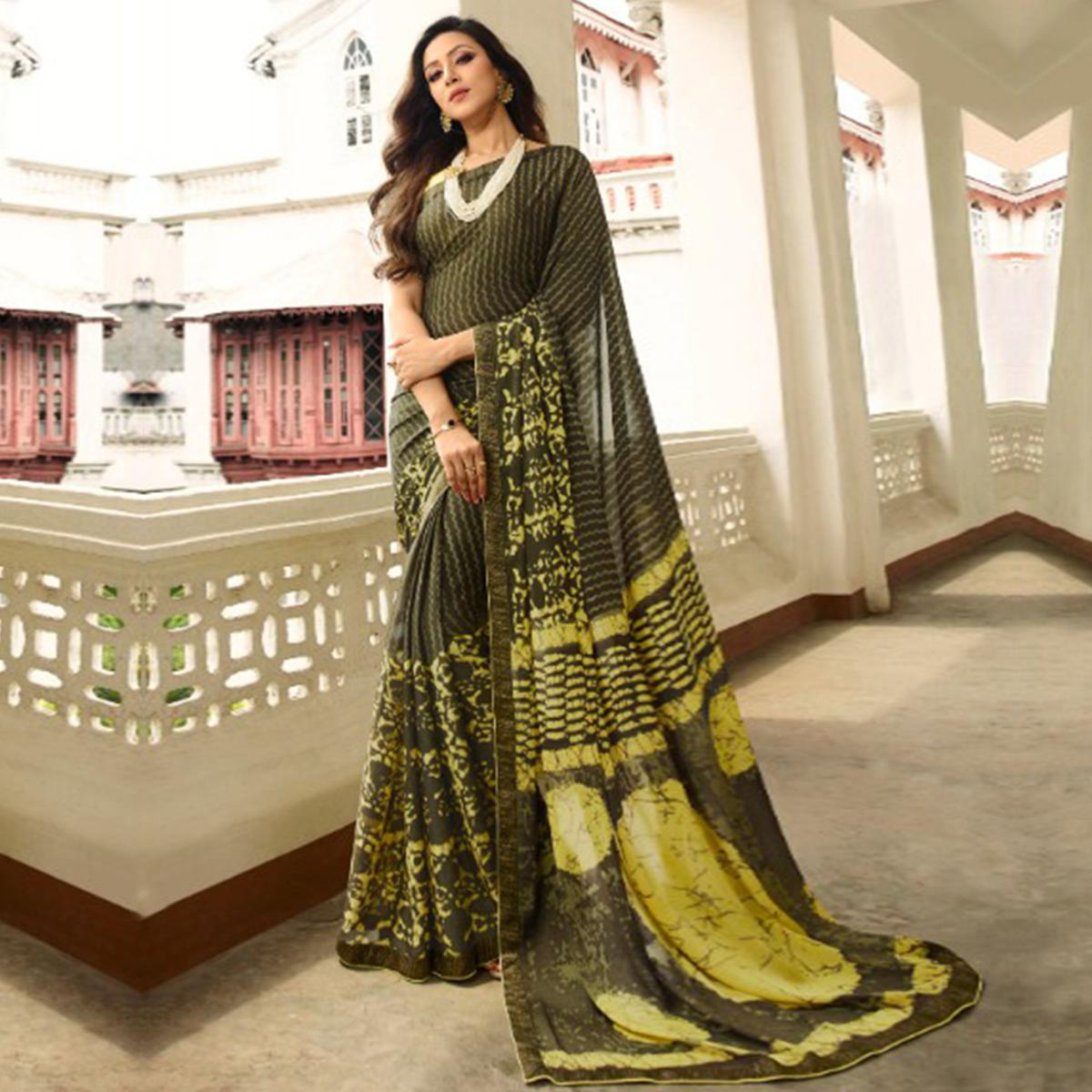 Exotic Olive Green Colored Casual Wear Printed Georgette Saree