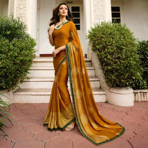 Trendy Dark Mustard Yellow Colored Casual Wear Printed Georgette Saree