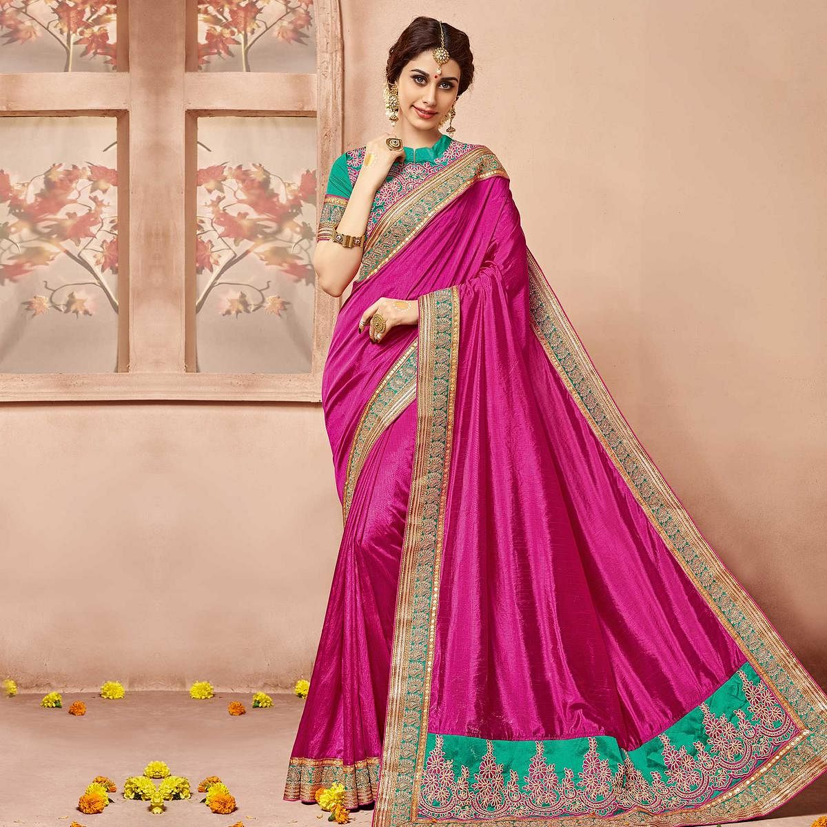 f82d89bb8d74fd Buy Magenta Party Wear Silk Saree for womens online India, Best Prices,  Reviews - Peachmode
