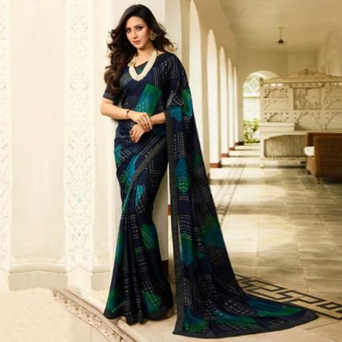 Elegant Navy Blue Colored Casual Wear Printed Georgette Saree