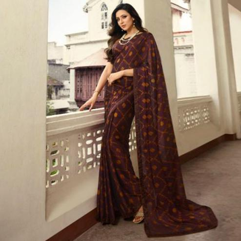 Classy Wine Colored Casual Wear Printed Georgette Saree