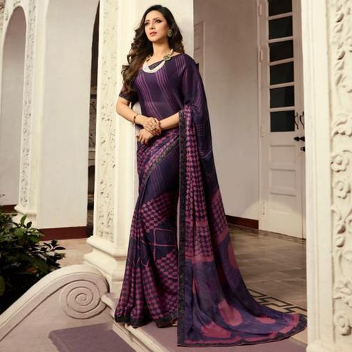 Prominent Purple Colored Casual Wear Printed Georgette Saree