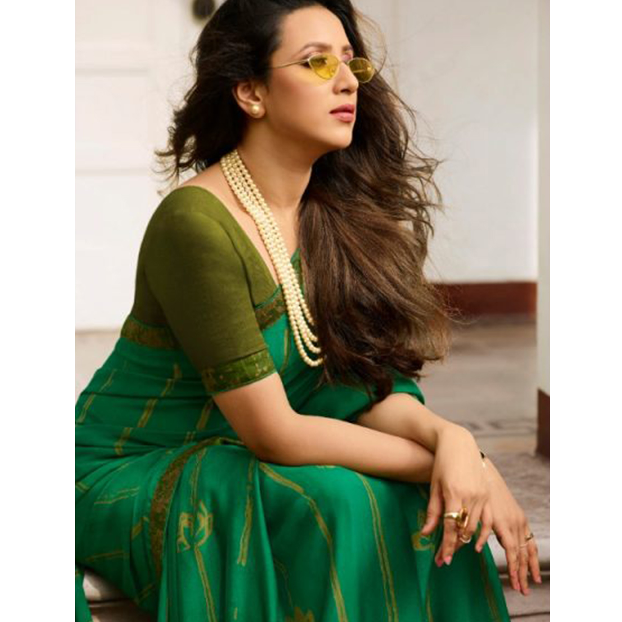 Adorable Green Colored Casual Wear Printed Georgette Saree