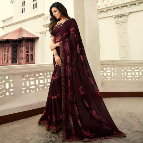 Glorious Wine Colored Casual Wear Printed Georgette Saree