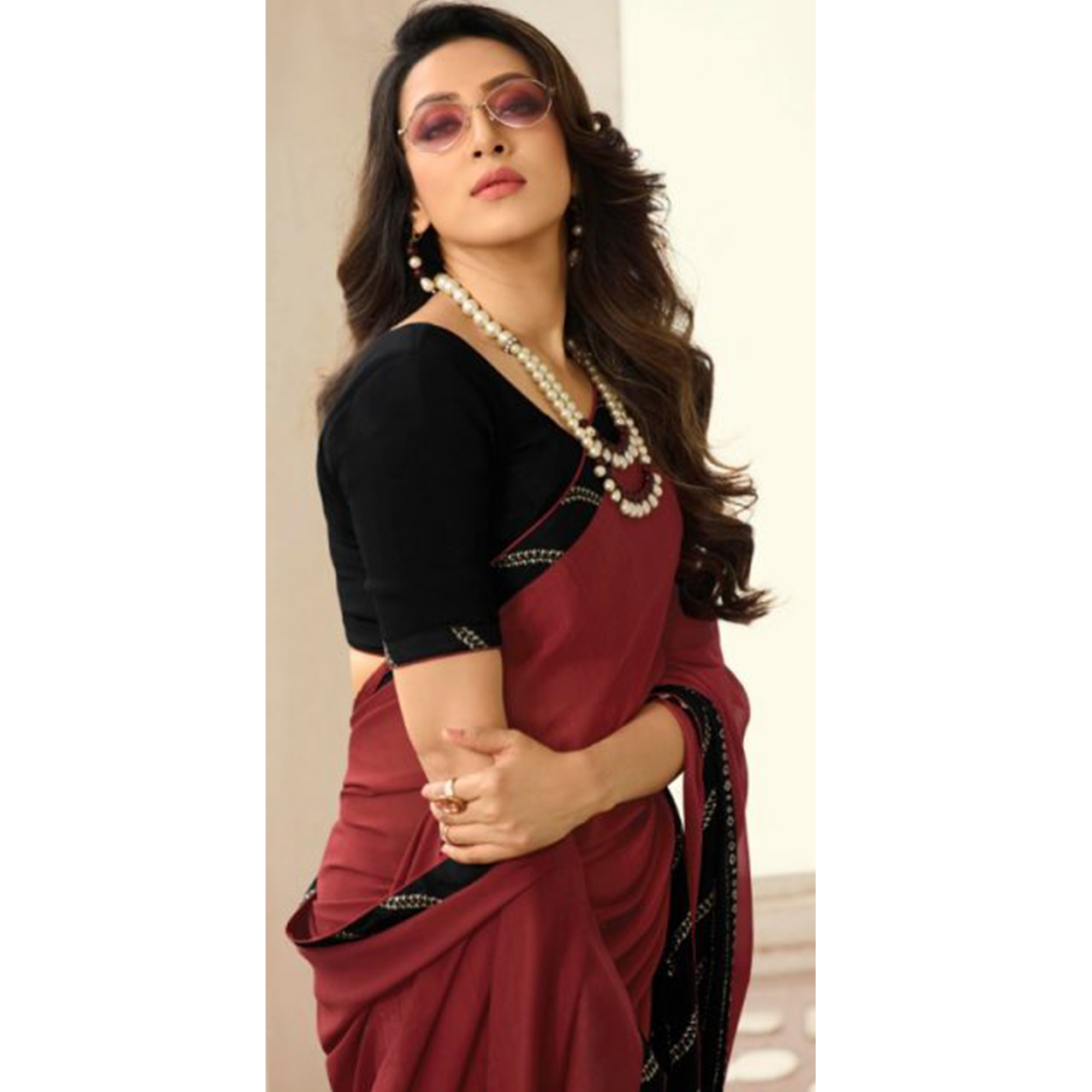 Beautiful Red Colored Casual Wear Printed Georgette Saree