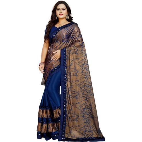 Mesmeric Blue-Brown Colored Partywear Art Silk Saree