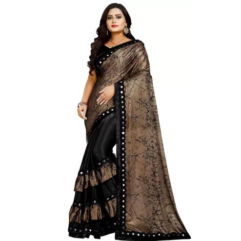 Unique Black-Brown Colored Partywear Art Silk Saree