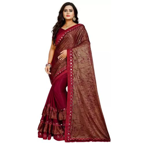 Demanding Pink-Brown Colored Partywear Art Silk Saree