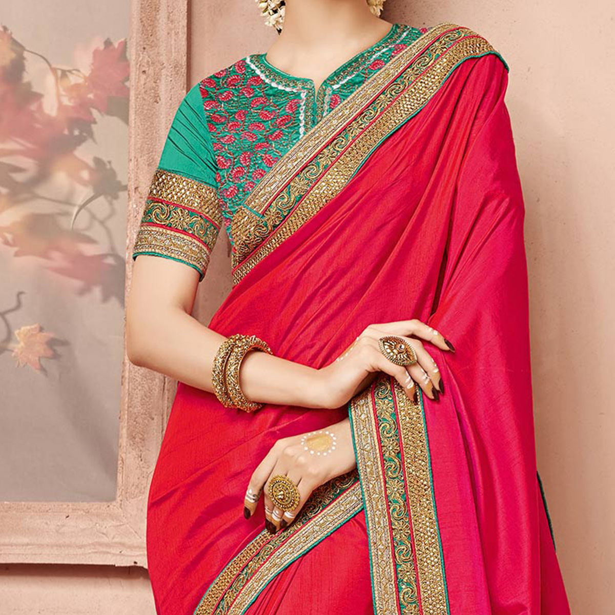 Shaded Red - Pink Silk Saree