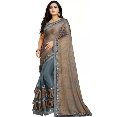 Refreshing Grey-Brown Colored Partywear Art Silk Saree