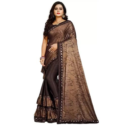 Magnetic Brown Colored Partywear Art Silk Saree