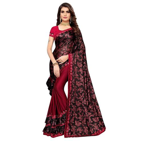 Flattering Red-Black Colored Partywear Floral Printed Art Silk Saree