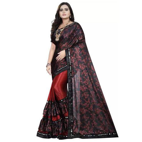 Flattering Red-Black Colored Partywear Floral Ruffle Lycra Blend Saree