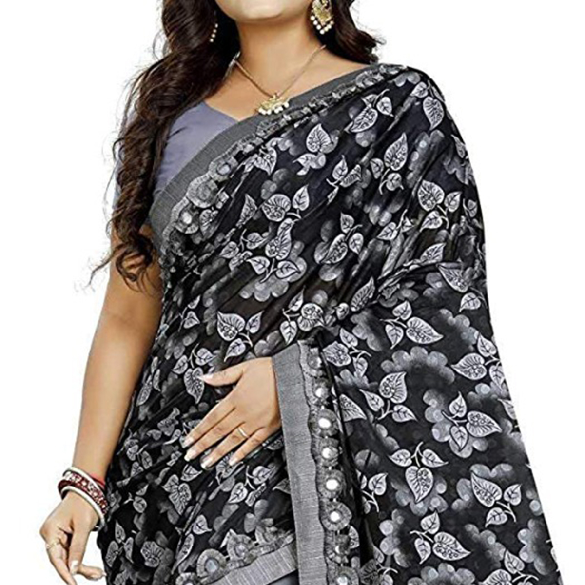 Excellent Grey-Black Colored Partywear Floral Ruffle Lycra Blend Saree