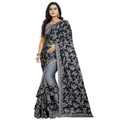 Excellent Grey-Black Colored Partywear Floral Printed Art Silk Saree