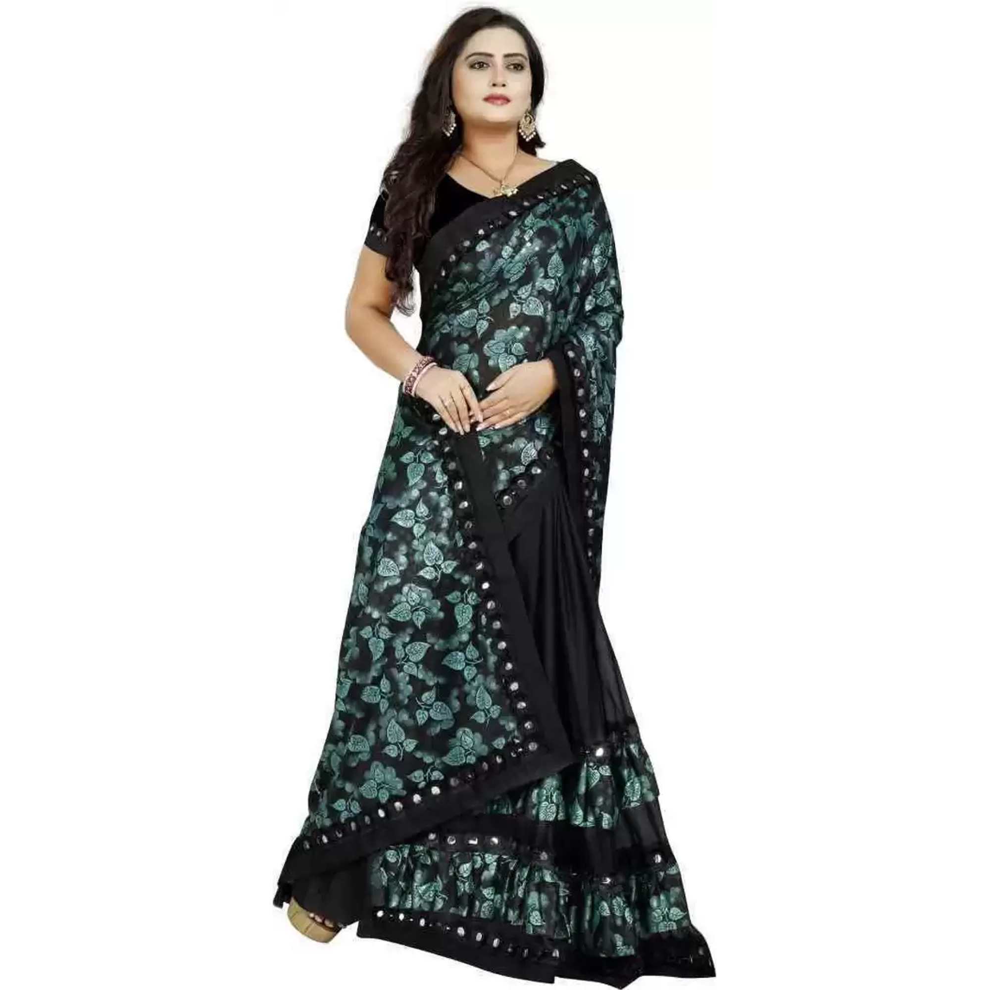 Preferable Black Colored Partywear Floral Ruffle Lycra Blend Saree