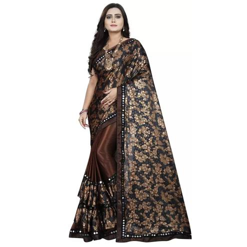 Marvellous Brown-Black Colored Partywear Floral Ruffle Lycra Blend Saree