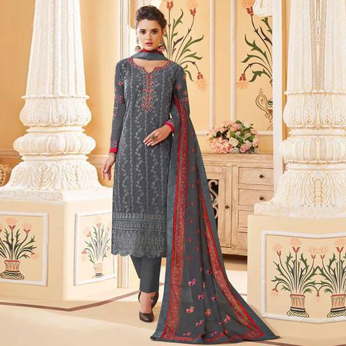 Magnetic Grey Colored Partywear Embroidered Georgette Lakhnavi Suit