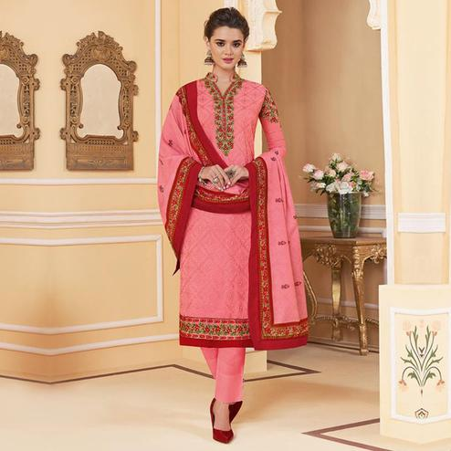 Hypnotic Pink Colored Partywear Embroidered Georgette Lakhnavi Suit
