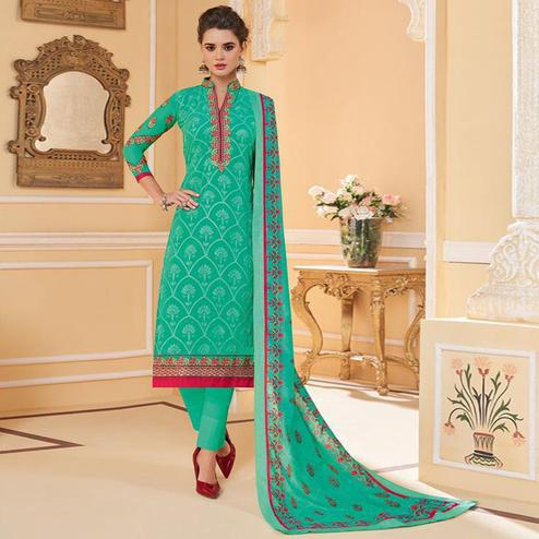 Excellent Aqua Green Colored Partywear Embroidered Georgette Lakhnavi Suit