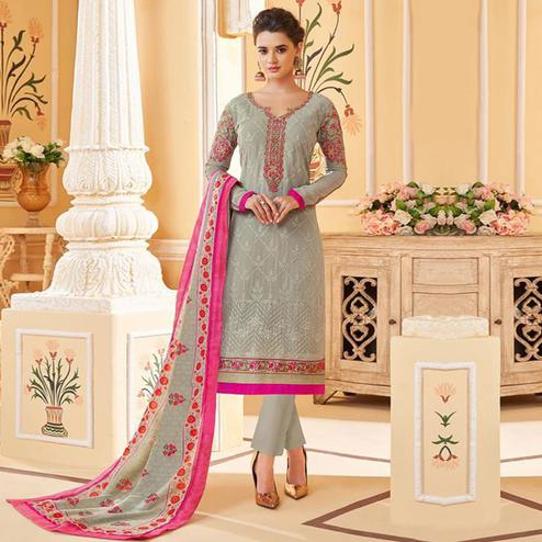 Preferable Light Grey Colored Partywear Embroidered Georgette Lakhnavi Suit