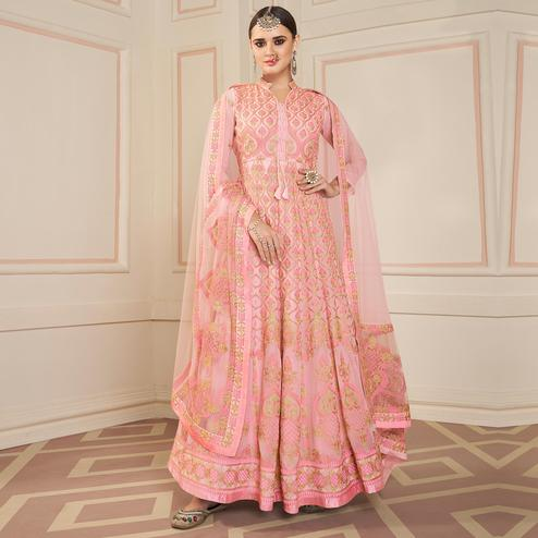 Sensational Pink Colored Partywear Lakhanavi Embroidered Georgette Anarkali Suit
