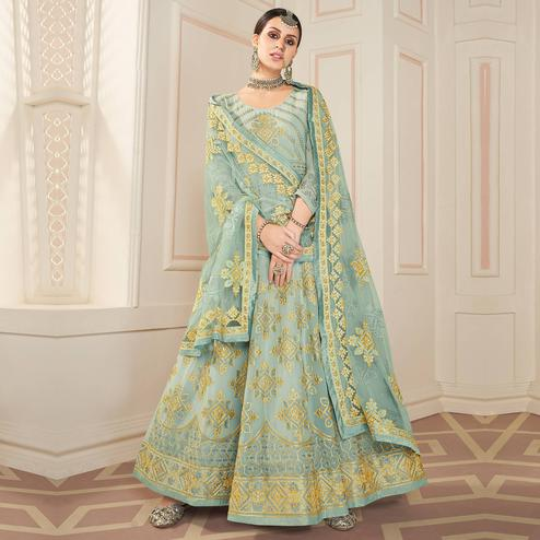 Flaunt Teal Grey Colored Partywear Lakhanavi Embroidered Georgette Anarkali Suit