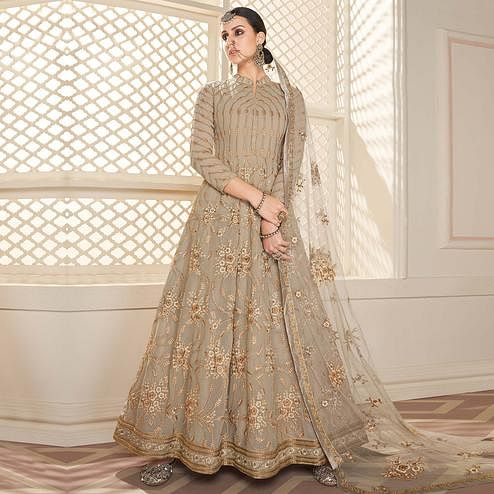 Stunning Brown Colored Partywear Lakhanavi Embroidered Georgette Anarkali Suit