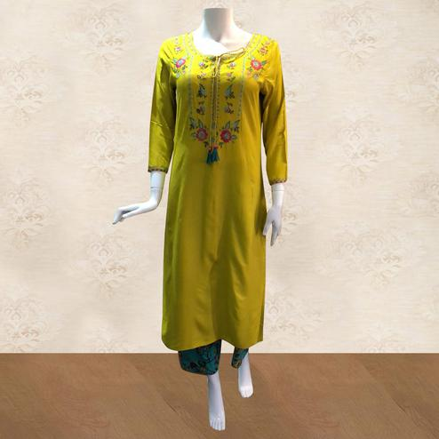 Pretty Lime Green Colored Partywear Floral Embroidered Cotton Kurti-Palazzo Set