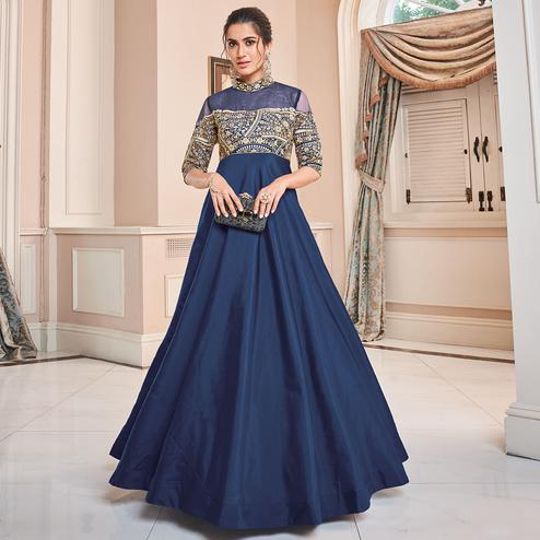 Hypnotic Navy Blue Colored Partywear Embroidered Tapetta Silk Gown
