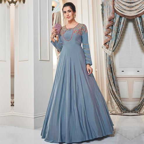 Flattering Stone Blue Colored Partywear Embroidered Tapetta Silk Gown
