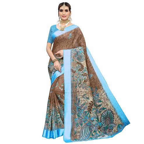 Adorable Brown Colored Casual Wear Printed Linen Saree