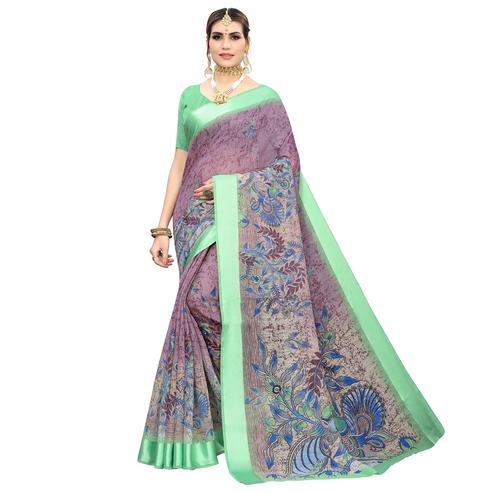 Glorious Purple Colored Casual Wear Printed Linen Saree