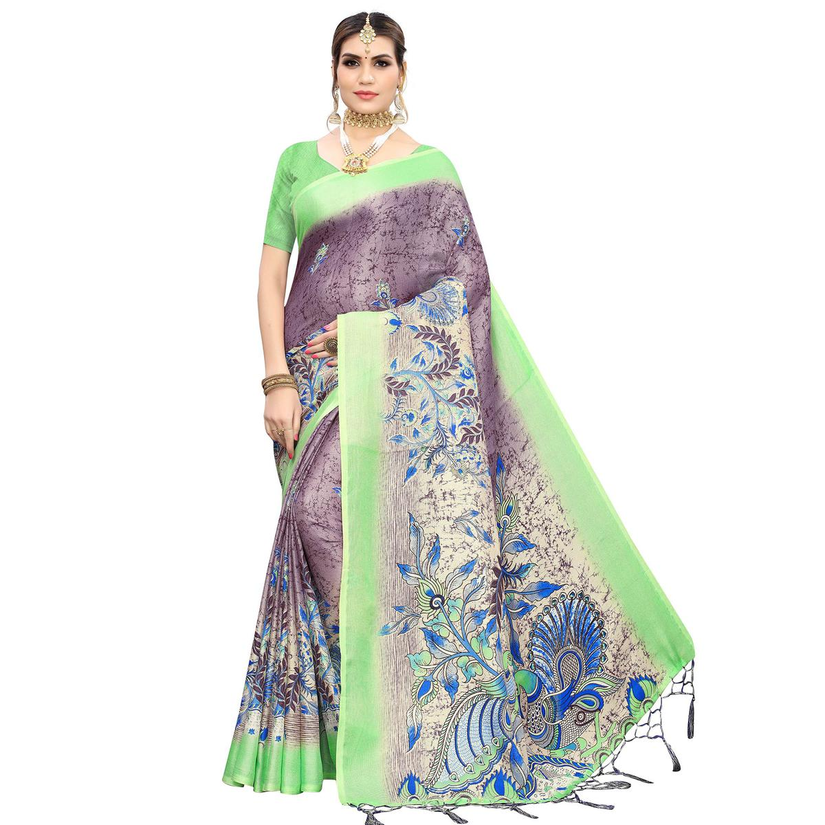 Beautiful Light Purple Colored Casual Wear Printed Cotton Saree With Tassels